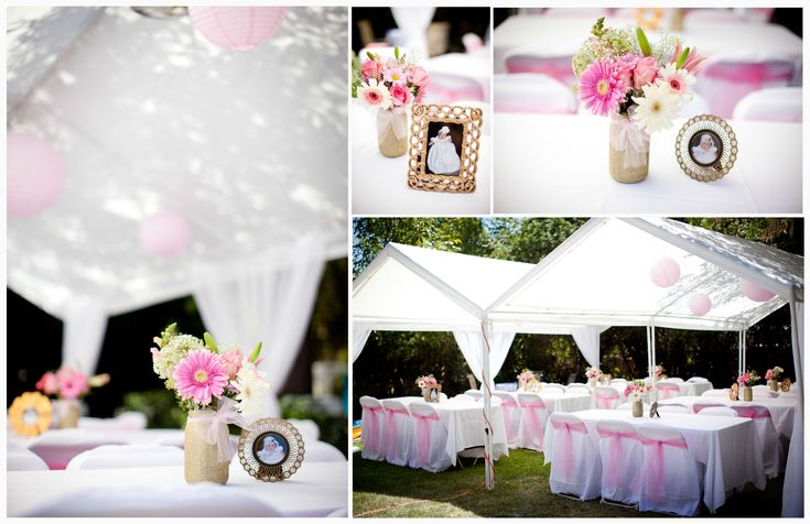 Diy pink gold baptism decor add cheap sheer walmart curtains to any party tent to make it - Decorations for a baptism ...