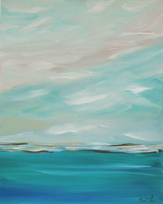 Original Painting Seascape Abstract Coastal von KamaraLarryStudio