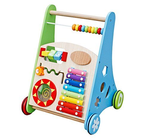 Oye Hoye Deluxe Wooden Push Toy and Baby Walker with multiple interested Activity Centre