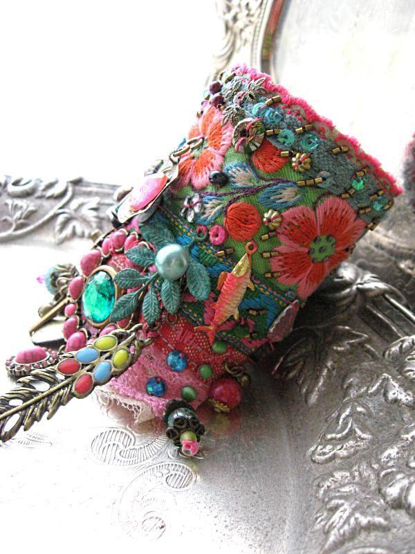 Monsoon, Gypsy Jangle, Bracelet, Bohemian Gypsy, Cuff, Vintage, Embroidery, Boho Jewelry. $185.00, via Etsy.