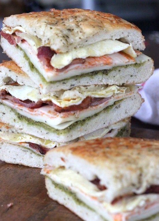 Super Bowl Sandwich. Italian club sandwich on focaccia. Perfect for game day!