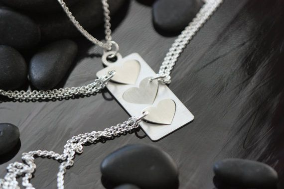 Mother Daughter Necklace Set - Grandma Granddaughter - Heart Cutout - Three Hearts - Sterling Silver Jewelry - Mothers Day Necklaces