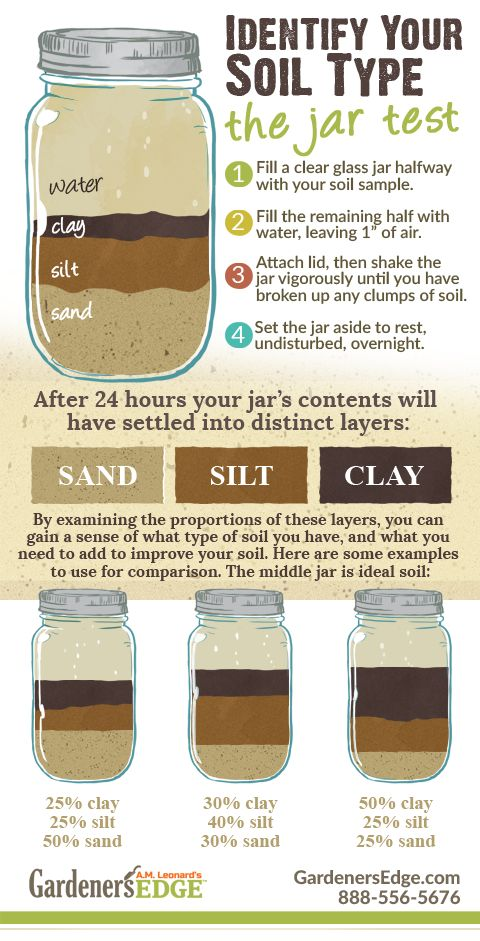 Mason Jar Soil Test | Determining what type of soil you have in your garden can be done with a glass jar with a lid, some water, and a sample of your soil. When soil particles separate you can see a mixture of the main soil types: sand, silt and clay. A well balanced soil (also called Loam) will have an almost even balance between the three particles. If your soil has more clay or more sand you can help your plants by learning the best watering and treatment methods for your particular soil!