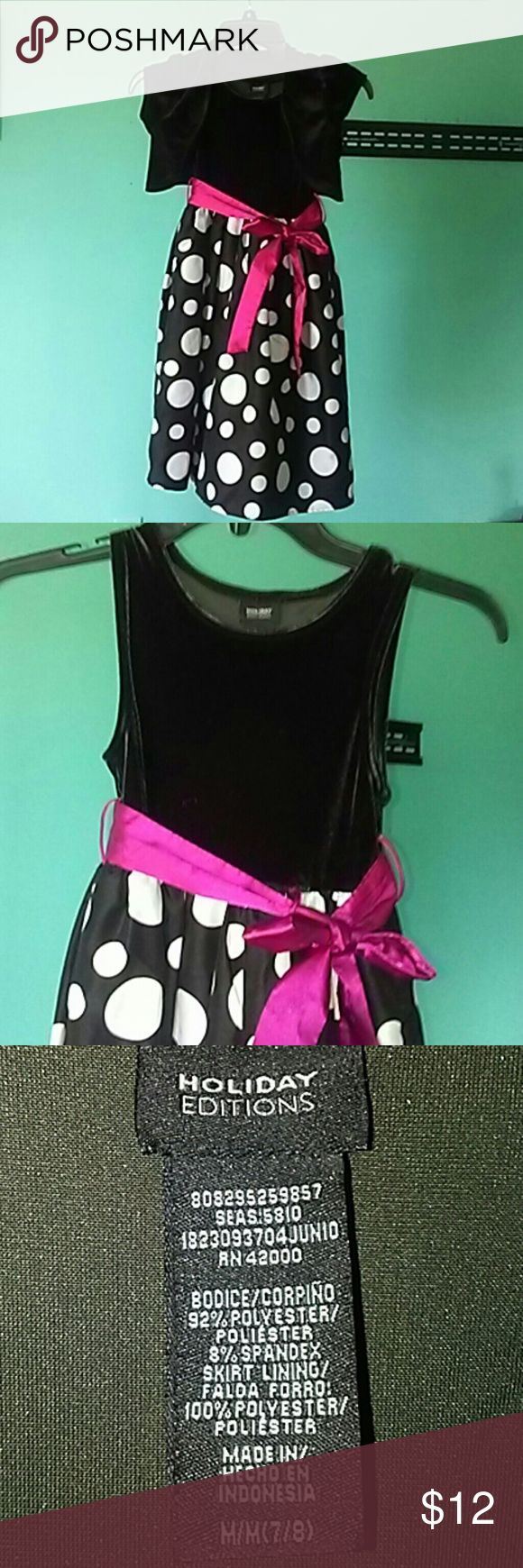 Holiday edition little girls formal dress Size 7-8 Holiday Edition little girls formal dress size 7-8 black and white polka dot bottom with pink sash. Has removable shrug. Holiday Edition Dresses Formal