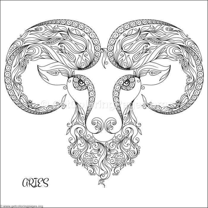 Free Instant Downloads Zodiac Sign Aries Coloring Pages Coloring Coloringbook Coloringpages Zentangle Taurus Constellation Tattoo Aries Art Coloring Books