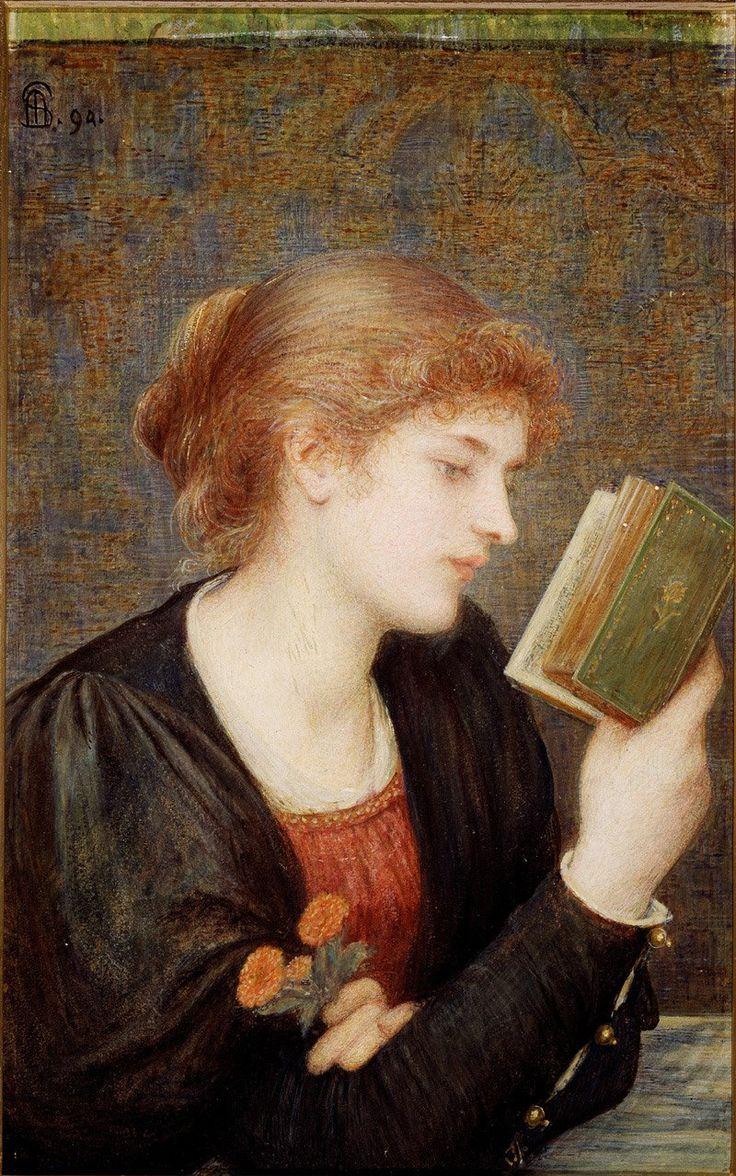 1894Marie Spartali Stillman (British Pre-Raphaelite, 1844-1927) ~Love Sonnets. #painting, #art, #reading