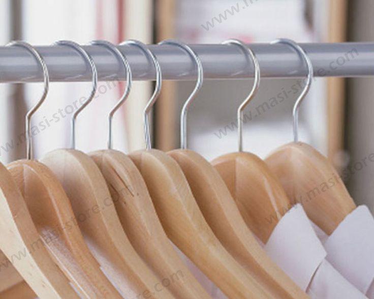 Stock 10 stampelle grucce gruccia in legno porta abiti appendiabiti per armadio | eBay