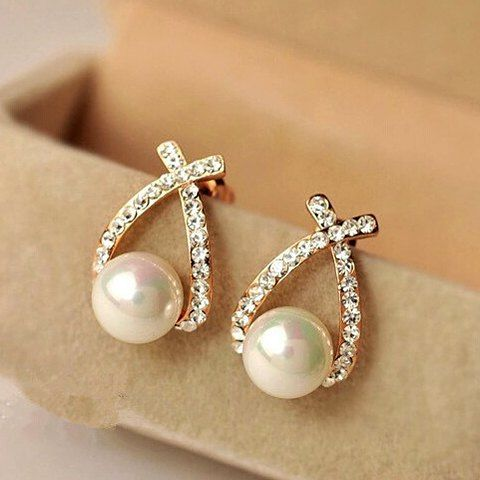 Pair of Charming Faux Pearl and Rhinestone Embellished Earrings .
