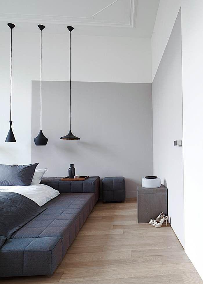 white + grey bedroom in the Hague, Netherlands
