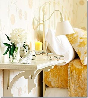 TheDesignFile: Try a shelf instead of a table in small bedrooms. Low cost, instant spot for your lamp, book and alarm clock