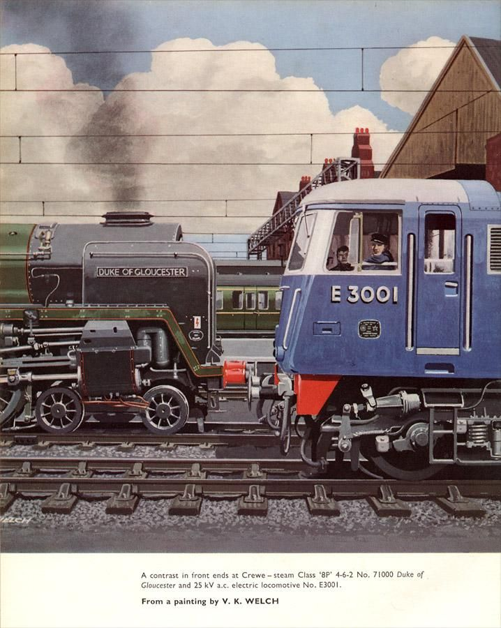 """""""A contrast in front ends at Crewe..."""" Trains Annual 1963."""