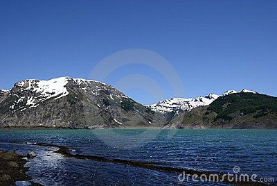Lake Laja, in the Cordillera of the Andes in Chile, Bio Bio region