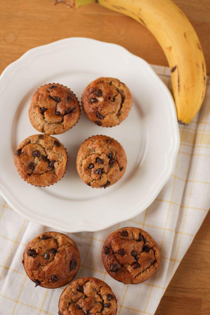 muffins chocolat banane sains - healthier chocolate banana muffins