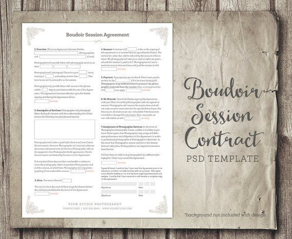 Boudoir Session Client Agreement Form Template Business Form Photographer Contract Agreement Instant Download In 2020 With Images Photography Business Forms Photography Contract Photography Business
