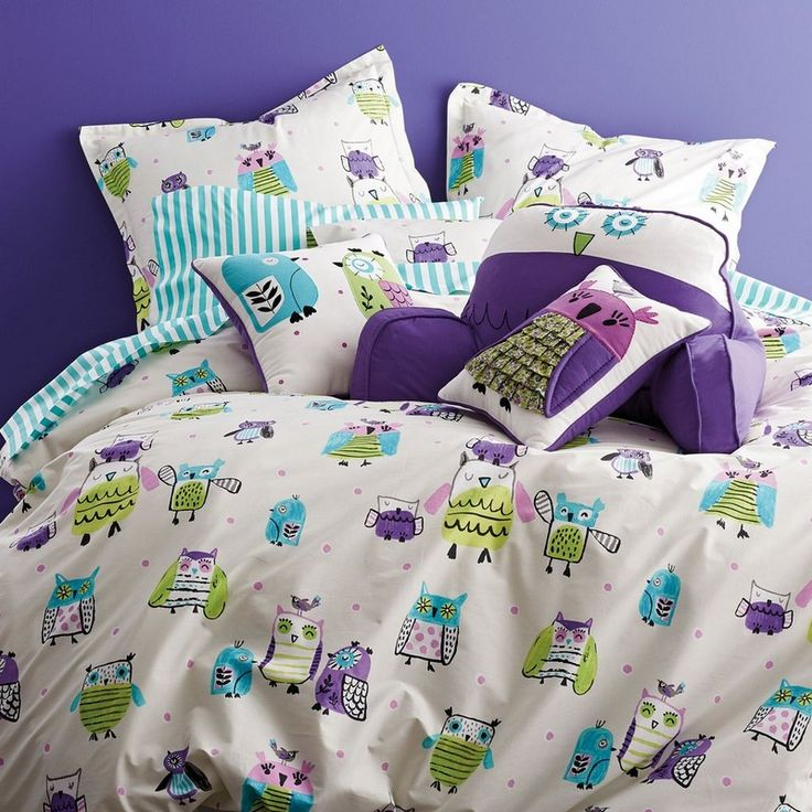 whimsical kids sheets bedding set with sketch style owls are printed all over soft count cotton