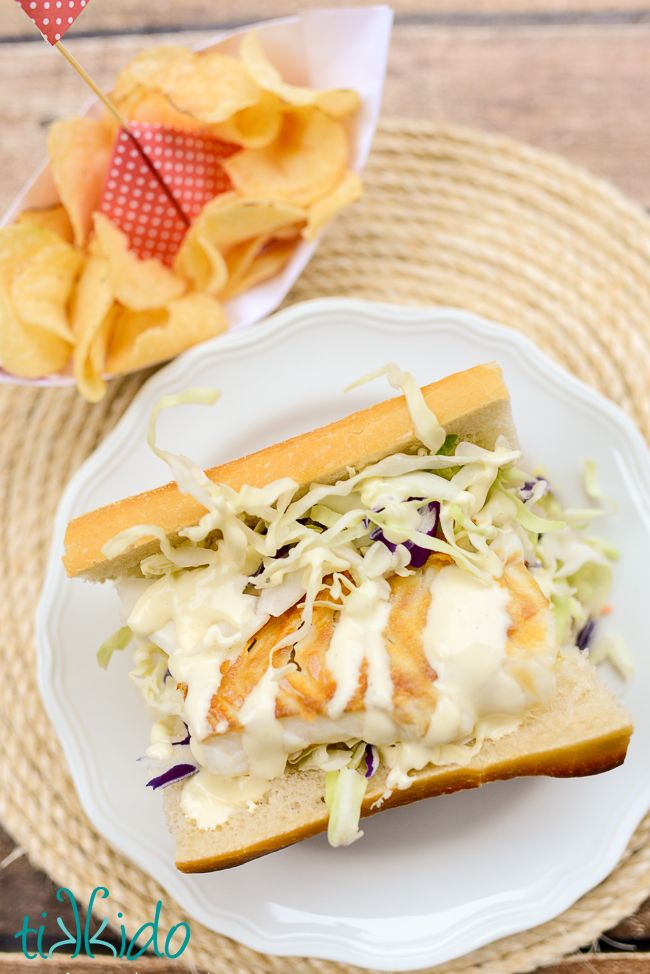Cod Sandwich with Lime Aioli Recipe.  Holy cow, this was delicious.  It's the perfect blend of east coast and west coast seafood traditions, all in one amazingly delicious sandwich.  Perfect with Cape Cod® Potato Chips of course.  Salt and Vinegar for me, please.  #ChipLove #AD