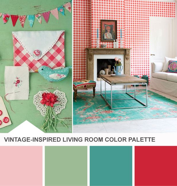 Red, Mint + Teal Vintage Living Room Color Palette   Tuesday Huesday On  Design Happens