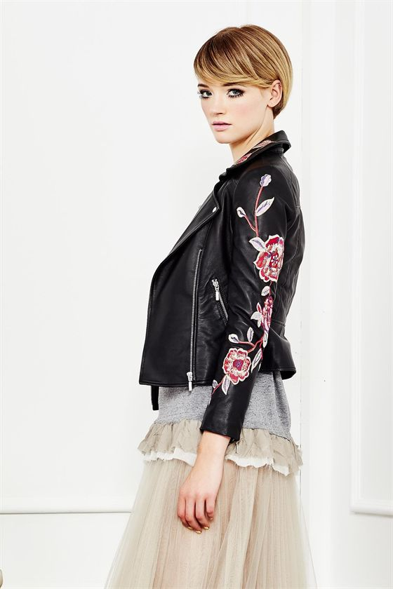 A romantic twist on the leather jacket. The decadently soft leather flourishes with rose embroidery, bringing a softer note to the biker style. It is a classic piece designed to be treasured for a lifetime. Spring 2016 Size & Fit: Model is 177cm tall Model wears a NZ 8/ EU 36/ US 6 Wash Guide: Dryclean only. Select a high quality leather drycleaner. Gentle short cycle. Low moisture cool temperature. Do not wring/drip dry. Do not allow to be exposed to direct sunlight. Fabric Composition:...