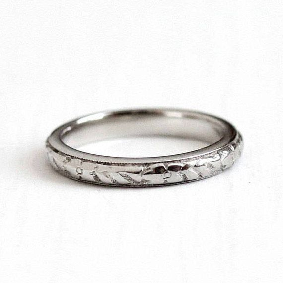Sale 1920s Wedding Band Antique Art Deco 18k White Gold Orange