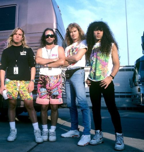 Jeff Hanneman, Kerry King, Dave Mustaine and Marty Friedman, 1991