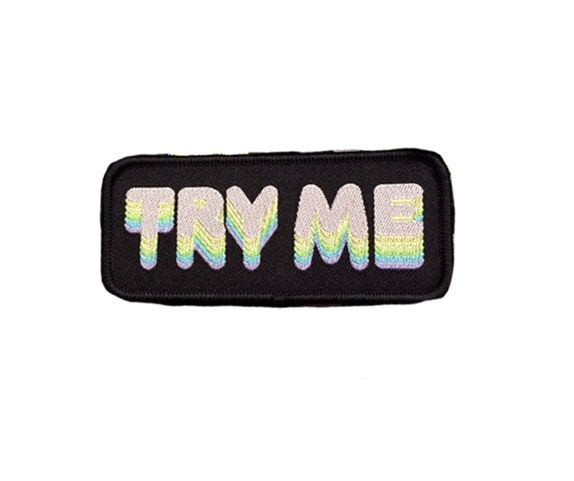 """Pastel colored """"Try Me"""" logo on iron-on woven patch Measures: 1.5""""x3.5"""" by Destruya"""