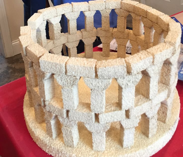 Roman Colosseum Foam Base And Styrofoam Project Bricks