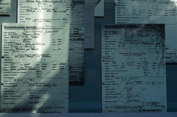 Block 4. Registration cards of Auschwitz prisoners.