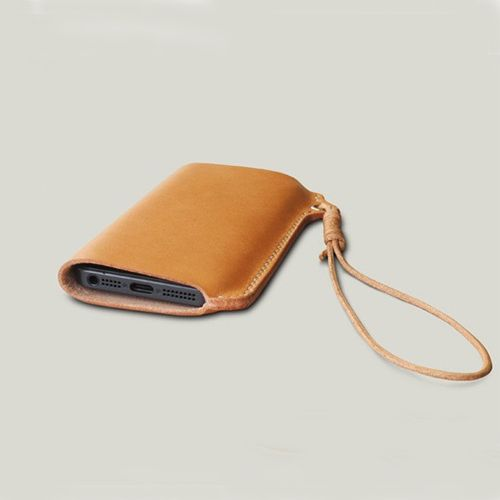 Genuine leather cell phone case with strap for iPhone 5 Leather Case, Handmade Leather Phone Sleeve