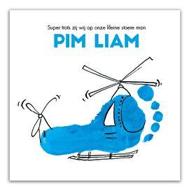 Geboortekaartje jongen blauw | voet | helikopter