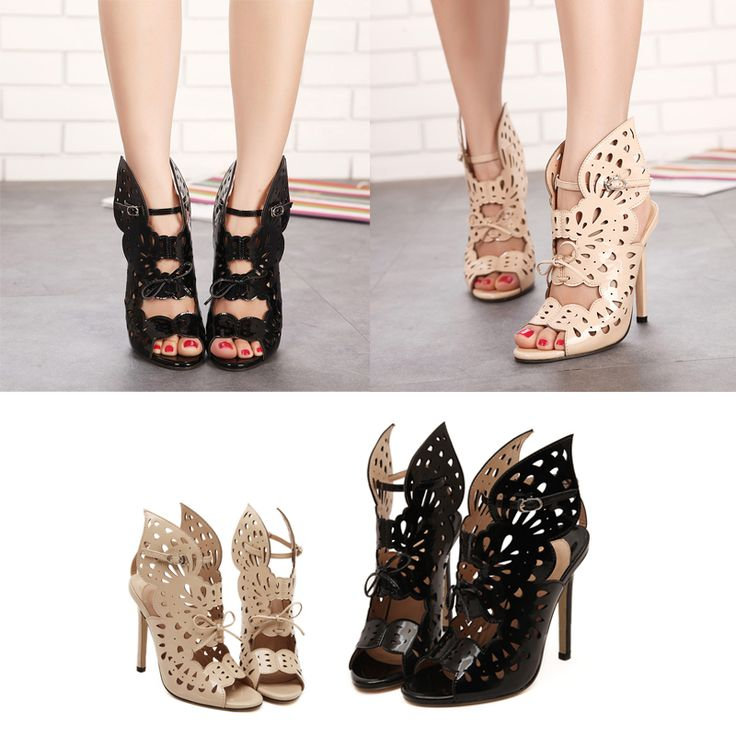 Hollow Out Open Toe Butterfly Design Backless Women Gladiators Super High Heel Nightclub Dinner Party Charming