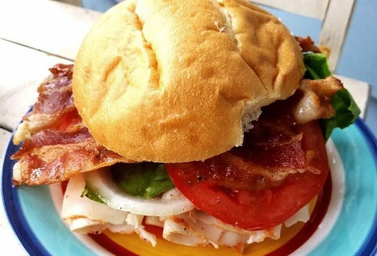 ~ Easy Turkey BLT W/ Spreadable Cheese - Cassies #Onion #easy #sandwich #Tomato #lettuce #bacon #Turkey #Spreadable Cheese #justapinchrecipes