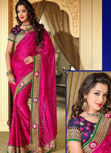 #Magenta #Stylish Look #Saree With #Resham Work