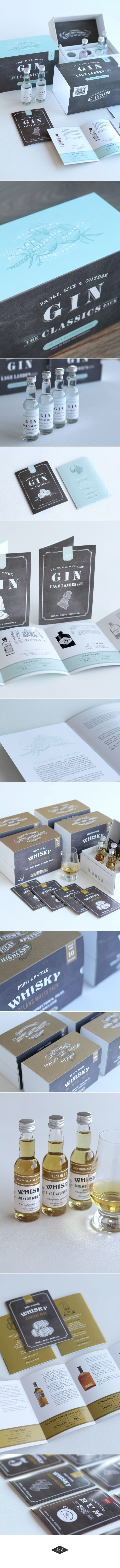 Whisky, Gin, Rum & Cognac Package design and Branding of The Flavour Company - All illustratons and most of the lettering was drawn by hand.  Click on the image to see more handlettering projects. www.chalkboard.nl