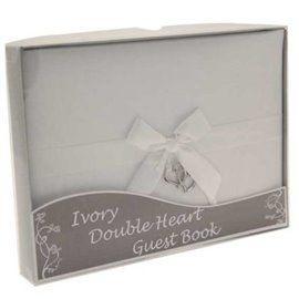 Gjestebok Elfenbenhvit med hengende doble hjerter