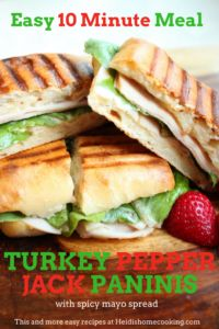 These 10 minute turkey pepper jack paninis are going to be your new favorite item for both lunches and dinners. The grilled sandwich recipe includes a spicy mayo spread that gives the panini an extra kick. This is also a great way to use up Thanksgiving leftovers.