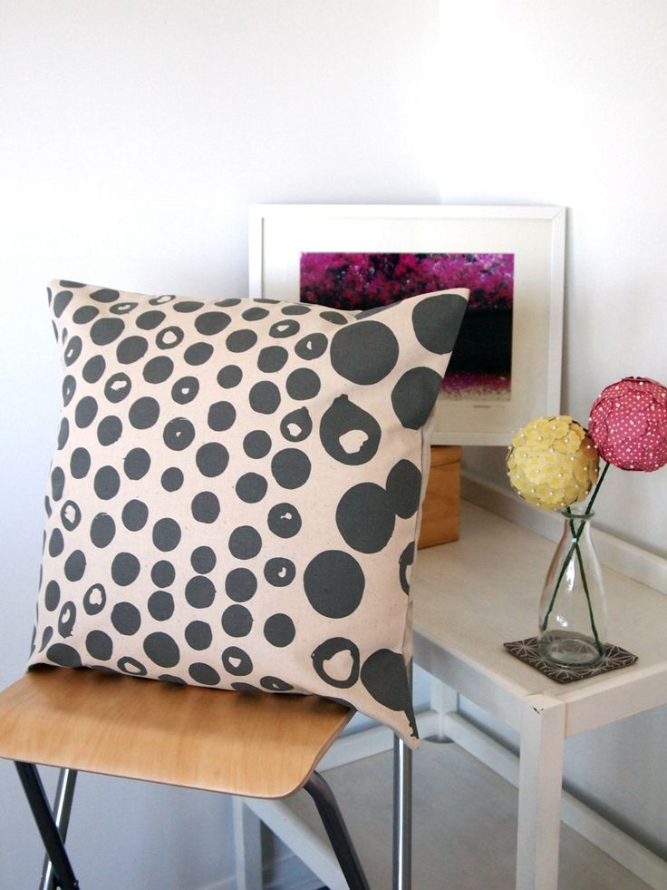 Dipped Dot Cushion Cover.  Grey on Natural - great with neon yellow.