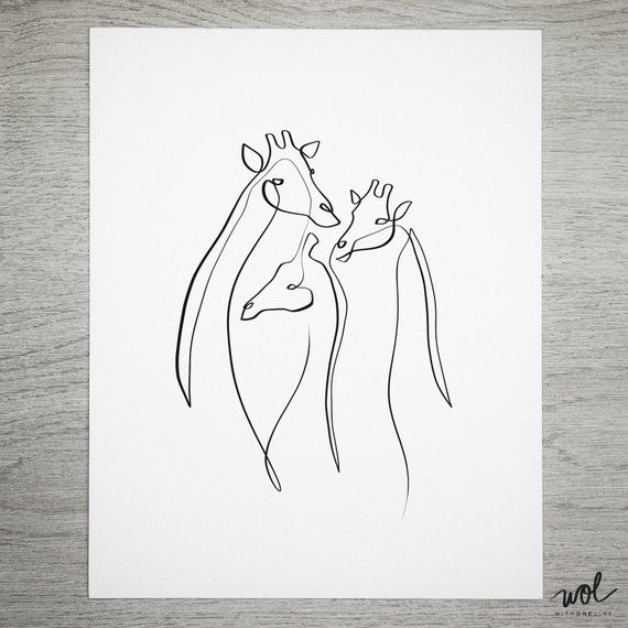 Description The Grace And Elegance Of Giraffes Captured In A Single Line Drawing This Piece Animal Line Drawings Simple Line Drawings Minimalist Art Print
