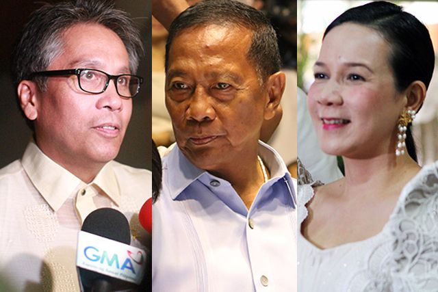 Binay Roxas Poe all in Cebu today The three expected top presidential candidates in next years elections  Vice President Jejomar Binay Sen. Grace Poe and Interior Secretary Manuel Roxas II  are coincidentally in Cebu today on separate engagements apparently to woo voters.