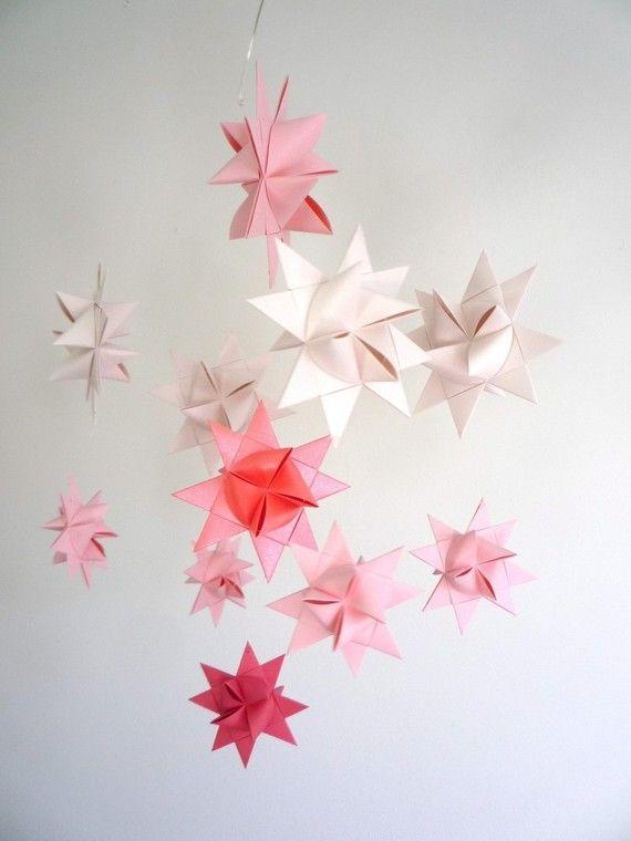 Baby Nursery Crib Mobile Origami Stars -'Ursa Minor' Soft Pinks on Etsy, $50.03 AUD