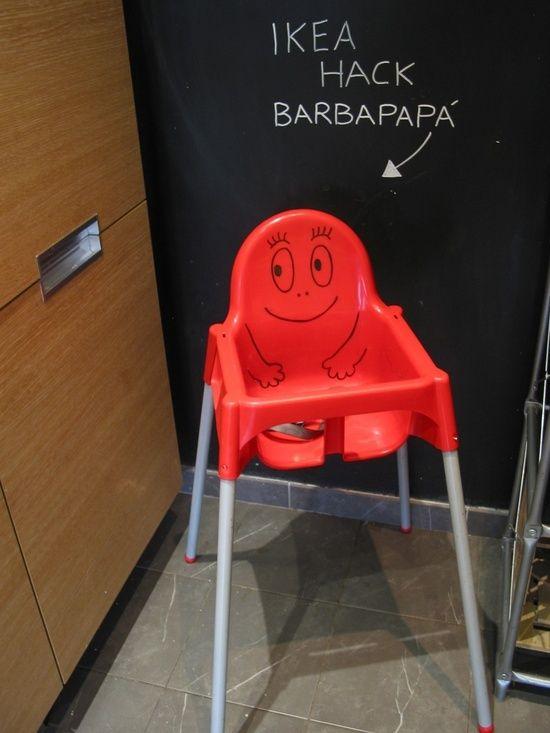 Turn an Ikea highchair into a barbapapà with a permanent marker - DIY IKEA Hack
