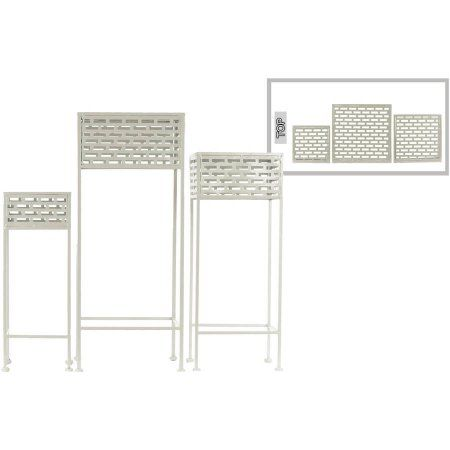 Urban Trends Collection Metal Plant Stand Coated Finish, White