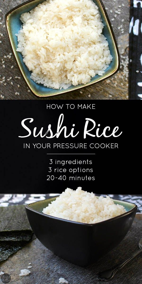 Whether you want to make sushi bowls or sushi rolls, you'll love this super simple recipe for Pressure Cooker Sushi Rice! @glueandglitter