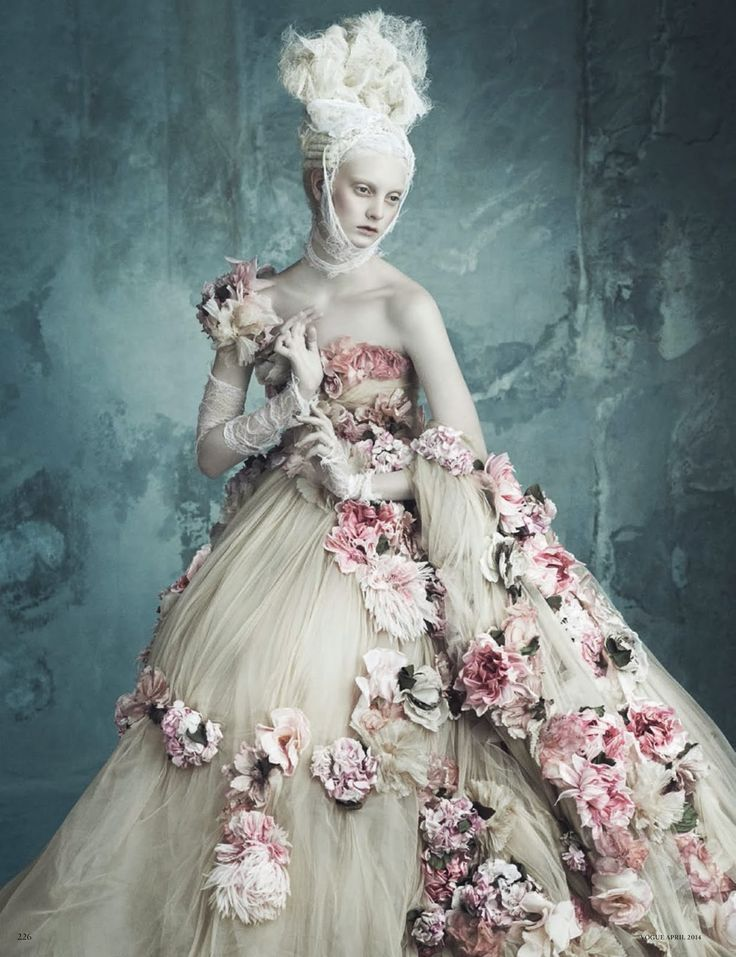 ❀ Flower Maiden Fantasy ❀ beautiful photography of women and flowers - Dolce & Gabbana Alta Moda by Luigi + Iango for Vogue Germany April 2014