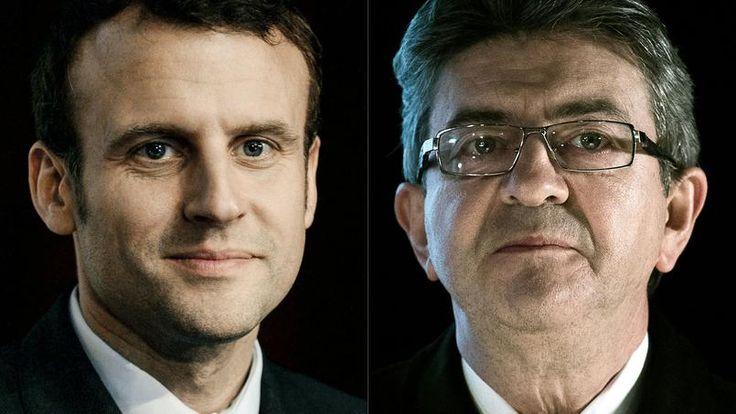 Emmanuel Macron, fondateur de En Marche! et Jean-Luc Mélenchon, candidat de la France Insoumise