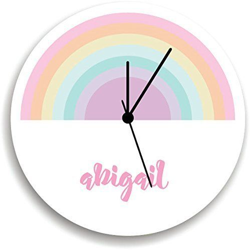 """Rainbow WALL CLOCK, personalized Wall Clock, playroom, pastel Children Room Decor,. Nursery Wall Clock, Giving a new atmosphere to any nursery! Measurements approximately 10.62"""" Diameter and 0.14"""" high The printed is adhered to the wood, This quality print come with brilliant laminated. The edges are painted dark color in order to make the perfect ending to the wall clock. Our kid-friendly wall clocks are for indoor use only. All wall clocks can be clean with a soft dry cloth. The clock..."""
