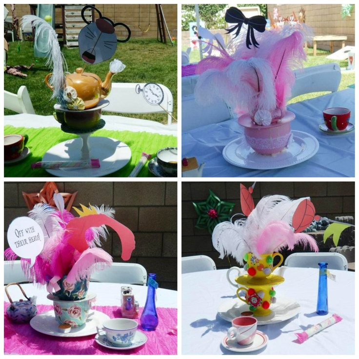 Alice and Wonderland teacup centerpieces Top left