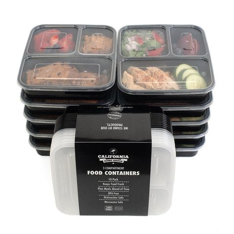 3 Compartment Reusable Food Storage Containers with Lids, Microwave and Dishwasher Safe, Bento Lunch Box, Stackable, Set of 10