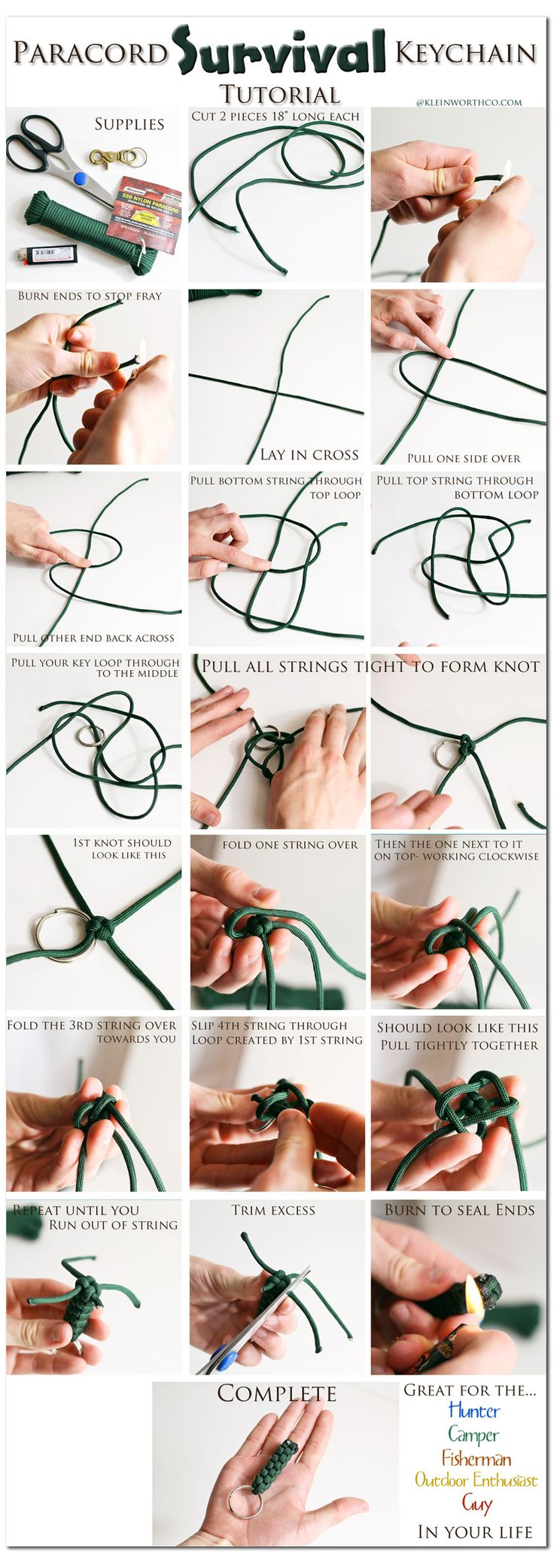 114 best paracord knot tying images on pinterest for Survival rope keychain