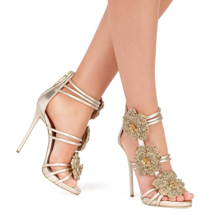 Giuseppe Zanotti New Gold Leather Crystal Rose Evening Sandals Heels in Box | From a collection of rare vintage shoes at https://www.1stdibs.com/fashion/clothing/shoes/