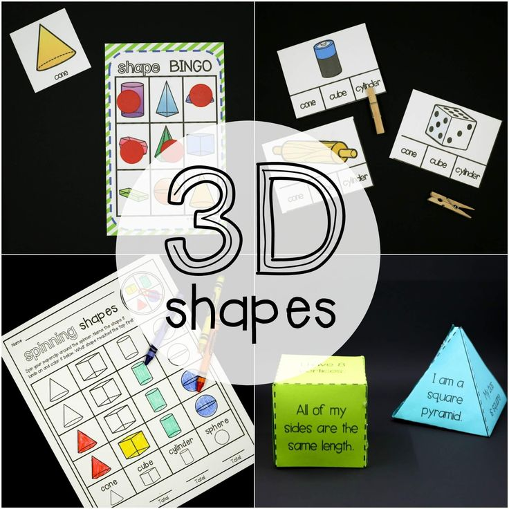 "Learning 3D shapes just got WAY cooler! These engaging, hands-on 3D shape activities teach kids about cones, cubes, cylinders, hemispheres, hexagonal prisms, pyramids, rectangular prisms, spheres and triangular prisms.  They're great to use as math centers or math lessons in kindergarten, first grade or second grade.  The pack includes:   	""Parts of a 3D Shape"" Poster  	27 Shape Clip Cards  	3 Interactive Flap Books  	Clip and Sort Activity  	3D Shape Bingo // class se..."